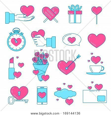 Set of Valentines icons. Pink line design love set. Ice cream in shape of heart love messages love is in the air.