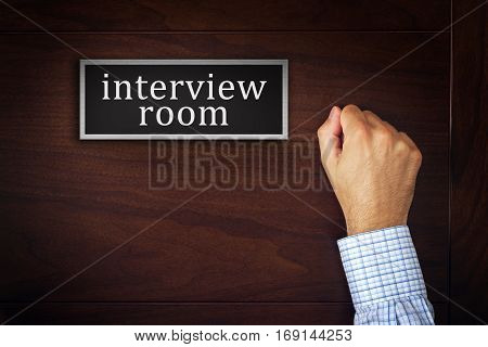 Businessman knocking on interview room door man applying for a job career opportunity concept