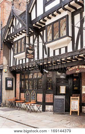 York North Yorkshire United Kingdom - June 23 2006: The Punch Bowl pub sitting on Blossom Street is a traditional english pub.