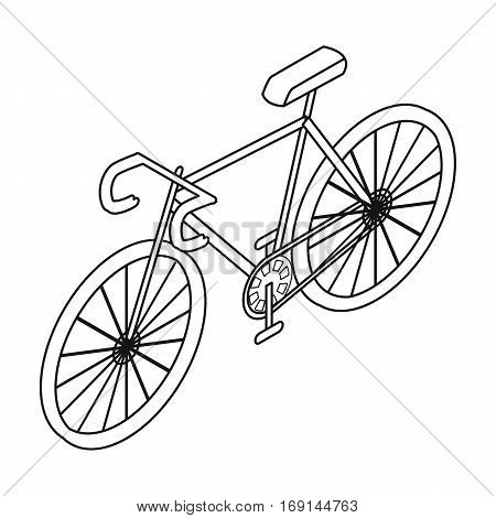 Bicycle icon in outline design isolated on white background. Transportation symbol stock vector illustration.