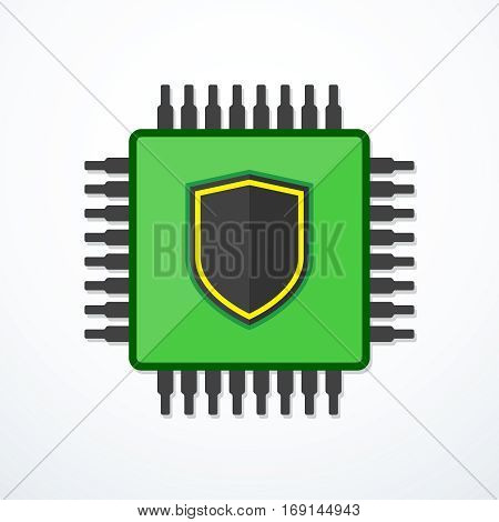 Vector CPU with shield icon. Central processing unit icon. Computer security icon.