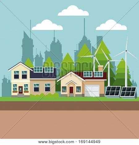 suburban houses with environmental energy vector illustration eps 10