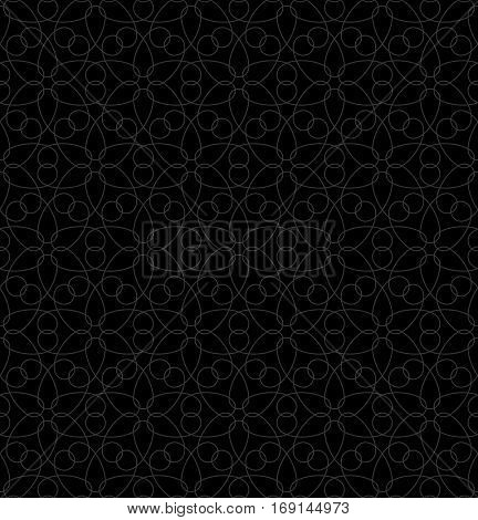 Neutral Seamless Linear Pattern. Tileable Geometric Outline Ornate. Floral Vector Background.