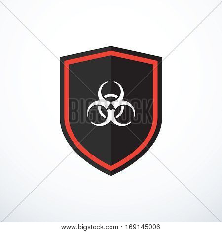 Vector shield with biohazard symbol. Virus protection icon