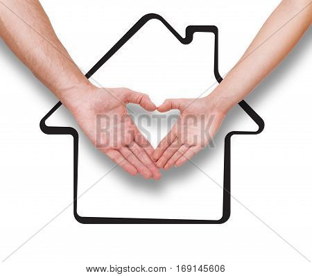 Real estate, family and couple concept Couple making heart shape made with their fingers. Drawing house as a background isolated on white.