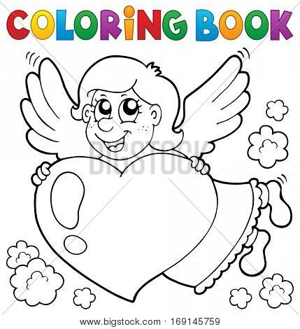 Coloring book Cupid topic 3 - eps10 vector illustration.