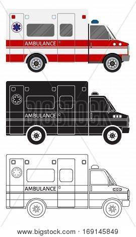 Ambulance car in three different styles: color black silhouette contour. Emergency medical service vehicle. Hospital transport. Flat style vector illustration.