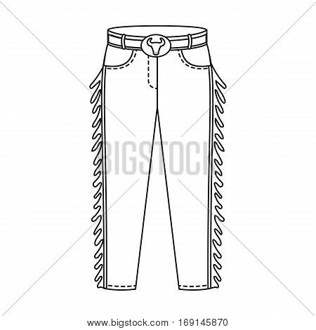 Cowboy jeans icon in outline design isolated on white background. Rodeo symbol stock vector illustration.