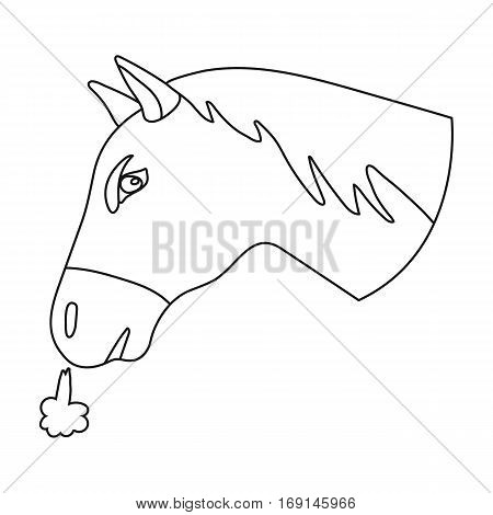 Horse s head icon in outline design isolated on white background. Rodeo symbol stock vector illustration.