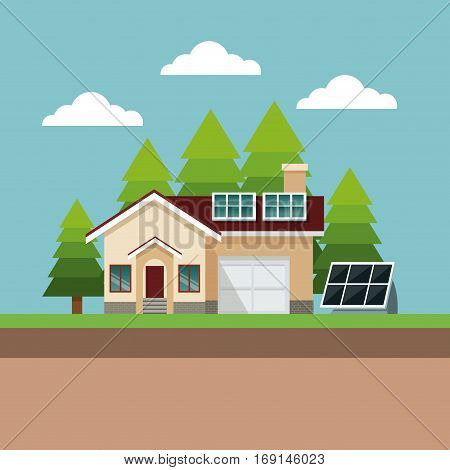 house suburban solar panel landscape vector illustration eps 10