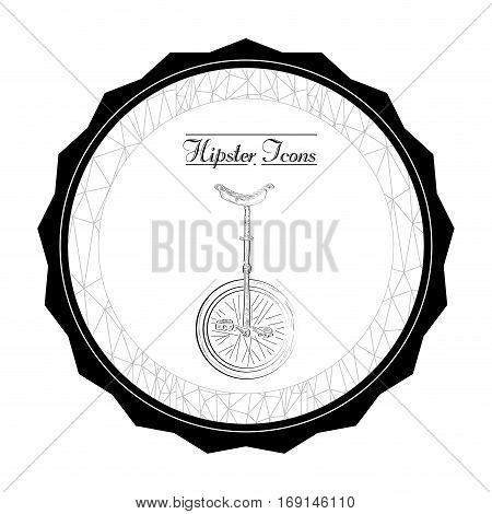 Isolated label with a monocycle, Hipster vector illustration