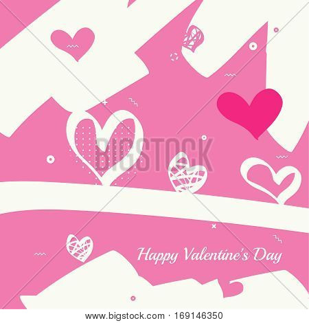 Trendy abstract background. Collage of geometric elements with red hearts. Modern hand drawn design. Creative backdrop for booklets, covers, poster, banner. Memphis cards. Vector. Happy Valentines Day