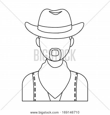Cowboy icon in outline design isolated on white background. Rodeo symbol stock vector illustration.