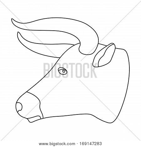 Head of bull icon in outline design isolated on white background. Rodeo symbol stock vector illustration.