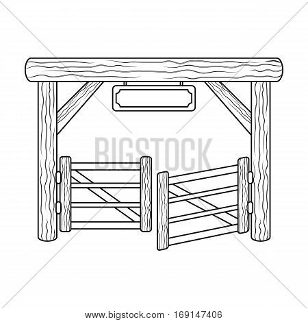 Paddock gate icon in outline design isolated on white background. Rodeo symbol stock vector illustration.