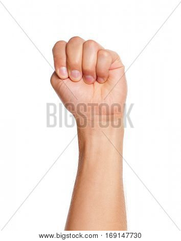 Adult man hand sign - punch strong fist gesture,  isolated on white background.