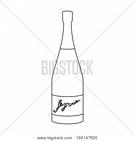 Bottle of champagne icon in outline design isolated on white background. Wine production symbol stock vector illustration.