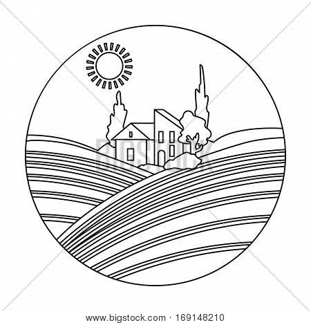 Lodge with vineyards icon in outline design isolated on white background. Wine production symbol stock vector illustration.