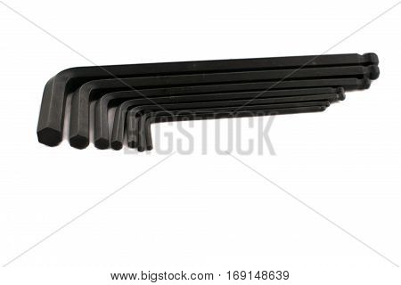 Hex Key Allen Wrench Set On White Background