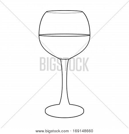 Glass of red wine icon in outline design isolated on white background. Wine production symbol stock vector illustration.