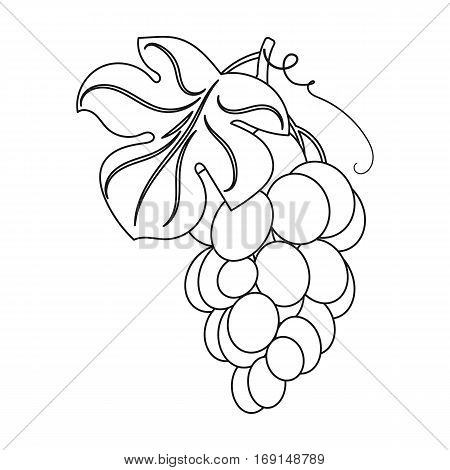 Bunch of yellow grapes icon in outline design isolated on white background. Wine production symbol stock vector illustration.