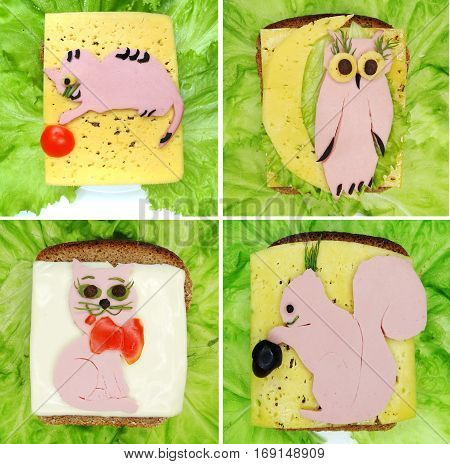 creative sandwich with cheese and salame cat shape collage
