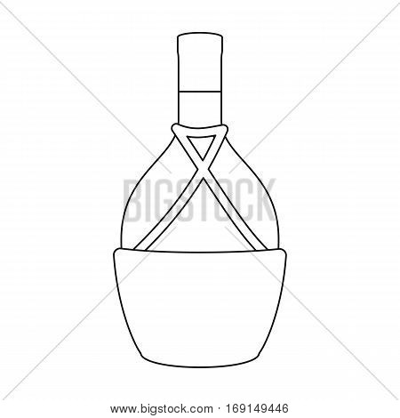 Bottle of wine icon in outline design isolated on white background. Wine production symbol stock vector illustration.