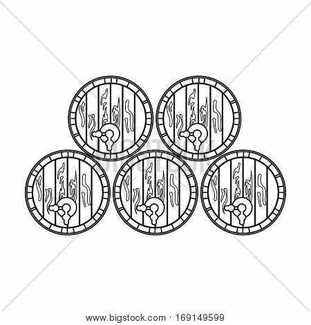 Wine barrels icon in outline design isolated on white background. Wine production symbol stock vector illustration.
