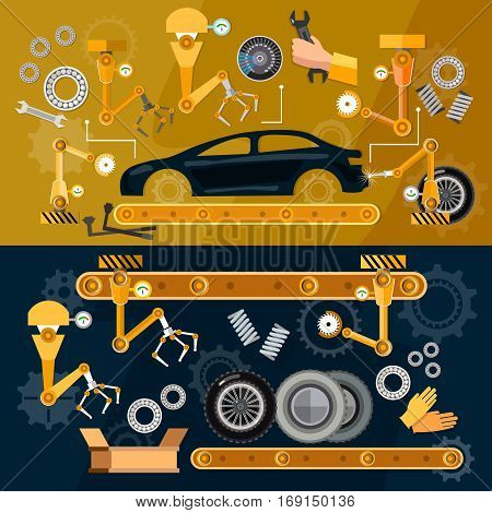 Car assembly line auti conveyor belt yellow robots welding cars in a production line