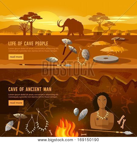 Stone age banner. Neanderthal man in a cave hunting for mammoth prehistoric tool. Neolithic paleolith mesolith beginning of a civilization. Caveman art