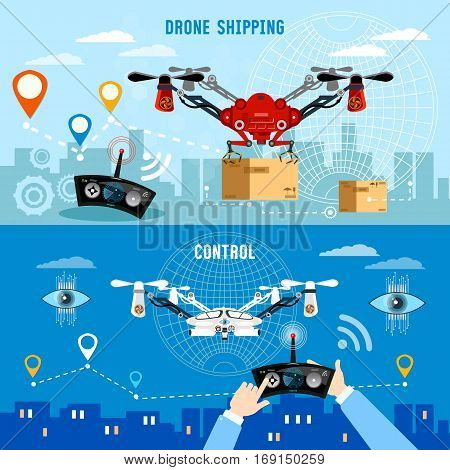 Drone delivery banner modern drone and remote control for the quadrocopter carrying cardboard box. Drone for delivery modern technologies