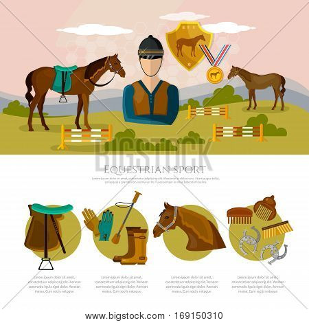 Equestrian sport infographics horse riding professional jockey equipment. Horse rising sport