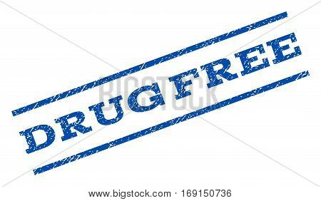 Drug Free watermark stamp. Text tag between parallel lines with grunge design style. Rotated rubber seal stamp with dust texture. Vector blue ink imprint on a white background. poster