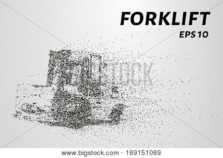 Forklift Of Particles. The Silhouette Of A Forklift Consists Of Circles And Points. Vector Illustrat