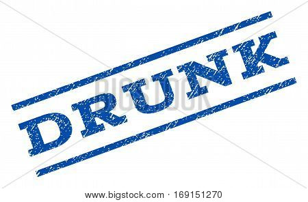 Drunk watermark stamp. Text tag between parallel lines with grunge design style. Rotated rubber seal stamp with dust texture. Vector blue ink imprint on a white background.