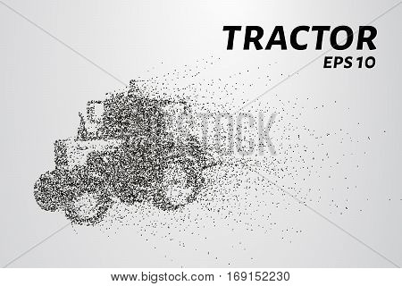Tractor Of The Particles. Silhouette Of A Tractor Consists Of Circles And Points. Vector Illustratio