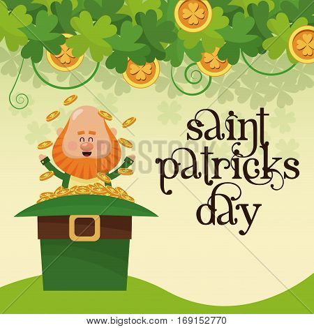 saint patricks day leprechaun sitting hat full gold lettering poster vector illustration eps 10