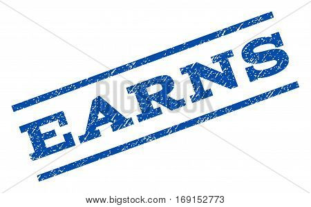 Earns watermark stamp. Text tag between parallel lines with grunge design style. Rotated rubber seal stamp with scratched texture. Vector blue ink imprint on a white background.
