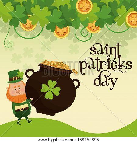 saint patricks day leprechaun carrying big pot coins golden lettering poster vector illustration eps 10