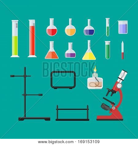 Laboratory equipment, jars, beakers, flasks, microscope, spirit lamp, pipette, biology science education medical vector illustration in flat style