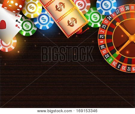 Casino background with roulette wheel, slot machine, playing cards, poker chips and dices.