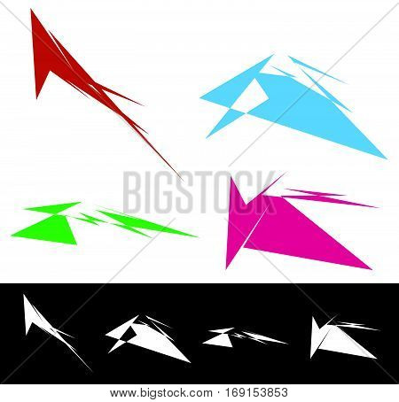 Set Of Geometric Shapes In Different Colors. Textured Shapes Elements