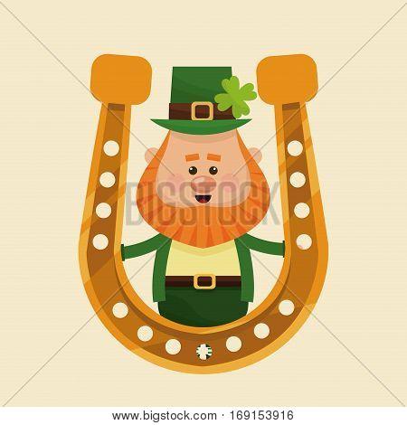 leprechaun with horseshoe gold symbol vector illustration eps 10