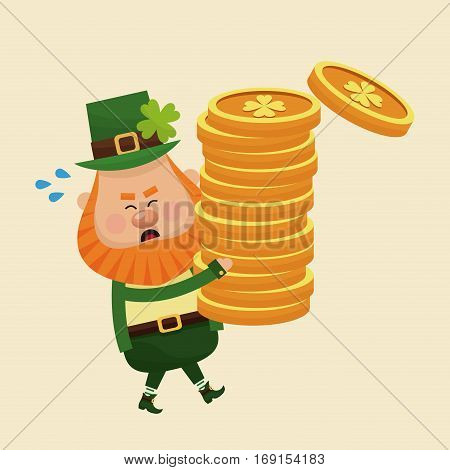 leprechaun carrying pile coins gold vector illustration eps 10