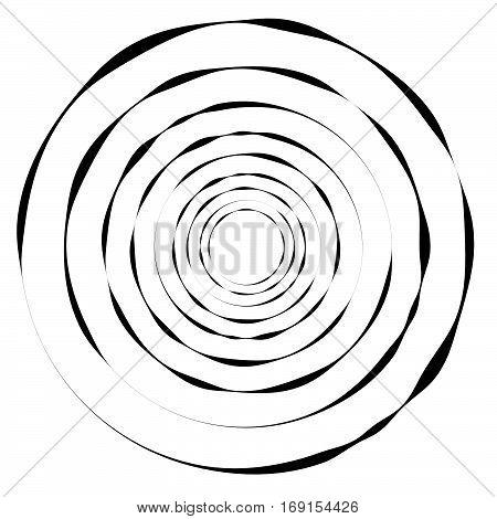 Concentric Circles, Rings. Geometric Spiral, Vortex Element