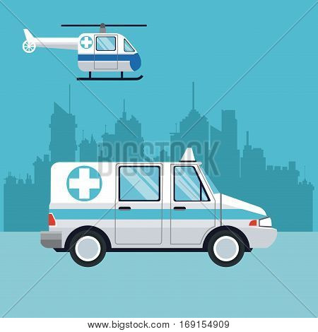 ambulance fly helicopter medical transport city background vector illustration