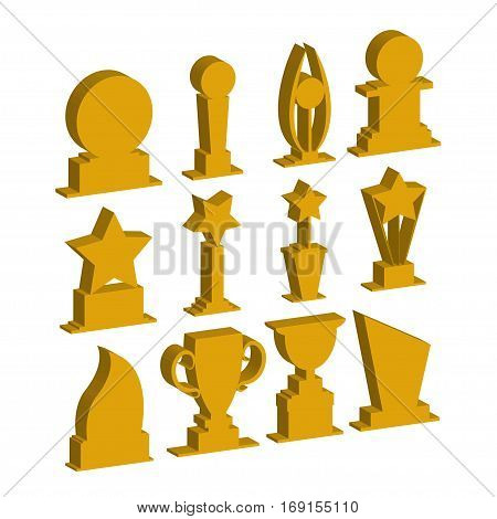 Trophies cups and challenge prizes icons gold collection against Award sport Symbol of competition reward and champion best - vector