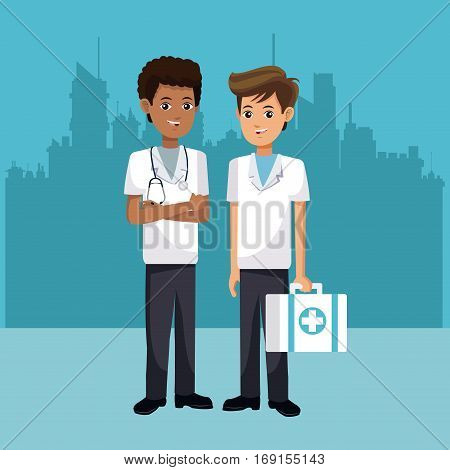 paramedic men suitcase first aid with urban background vector illustration eps 10