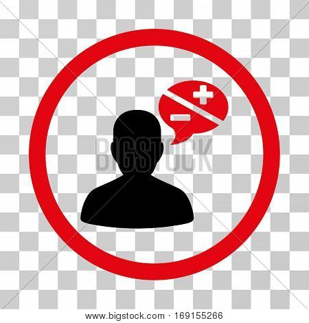 Person Arguments icon. Vector illustration style is flat iconic bicolor symbol intensive red and black colors transparent background. Designed for web and software interfaces.