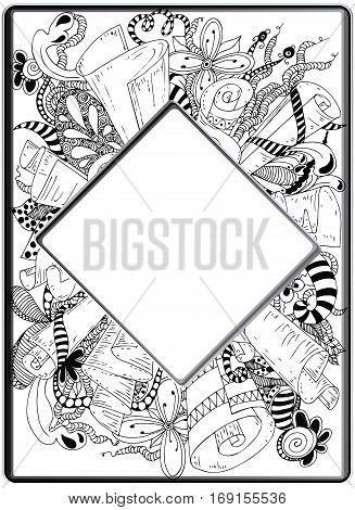Frame zentangle Floral hand drawn Vector image